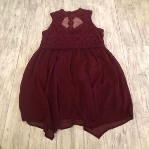Xhiliration Maroon Lace Dress